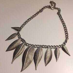 Silver Metal Leaf Necklace
